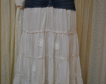Upcycled denim skirt.....Boho....white lace.....size 3/4.....