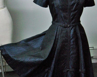 1950s Midnight Black Ribbed Taffeta Dress with Grosgrain Accents Bust 36 Waist 28