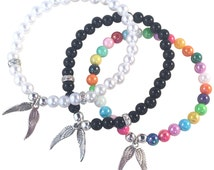 ANGEL WINGS Charm BRACELET 16 Colour Choices with Acrylic 6mm Beads and Silver Tone Beads Fairy Guardian