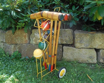 Vintage Complete Croquet Set with Metal Cart Stand on Wheels Six Player Wood Wooden Croquet Lawn Game Photo Prop
