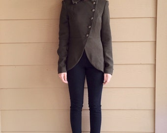 Military Style Olive Green Fitted Asymmetrical Button Up Blazer Jacket // Women's size XS Small S