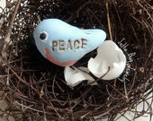 Peaceful Bluebird- polymer clay charm. blue bird. rustic. personalized PEACE bird. rustic woodland handsculpted blue bird. Jettabugjewelry