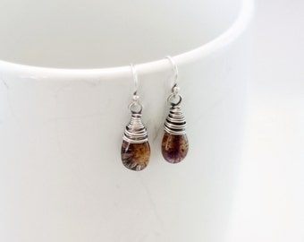 Moss Amethyst Earrings, Oxidized Sterling Silver Wire Wrapped Purple Amethyst Dangle Earrings February Birthstone