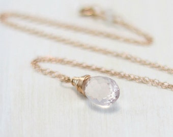 Rose Quartz Necklace, 14k Rose Gold Filled Pink Stone Rose Quartz Pendant Pink Gold Wire Wrapped Jewelry