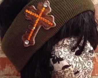 Winter Headband-Cross Military Green
