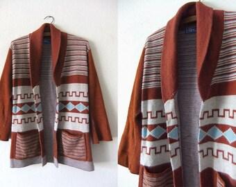 LeRoy Boho Chic Cardigan Sweater - Hippie Art Deco Southwestern Style Bell Sleeves Tunic Cardigan Sweater - Womens Medium