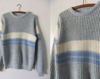 Soft Pastels Knit Sweater - Striped Waffle Knit Crewneck Jumper Pastel Goth Minimalist Grunge Sweater - Oversized Mens Small