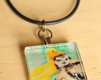 Unassuming Friendship Pendant Necklace -  Wearable Art by Mandolin Artworks