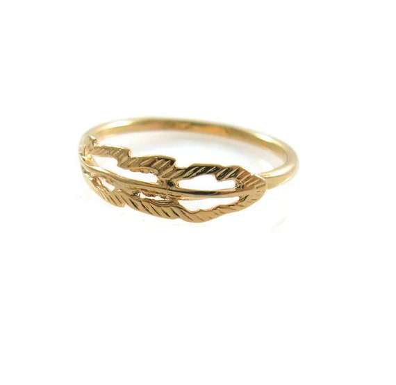 feather gold ring gold ring feather ring gold feather ring