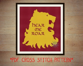 Game of Thrones Lannister House sigil counted cross stitch printable PDF pattern
