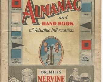Vintage 1936 Dr. Miles New Weather Almanac