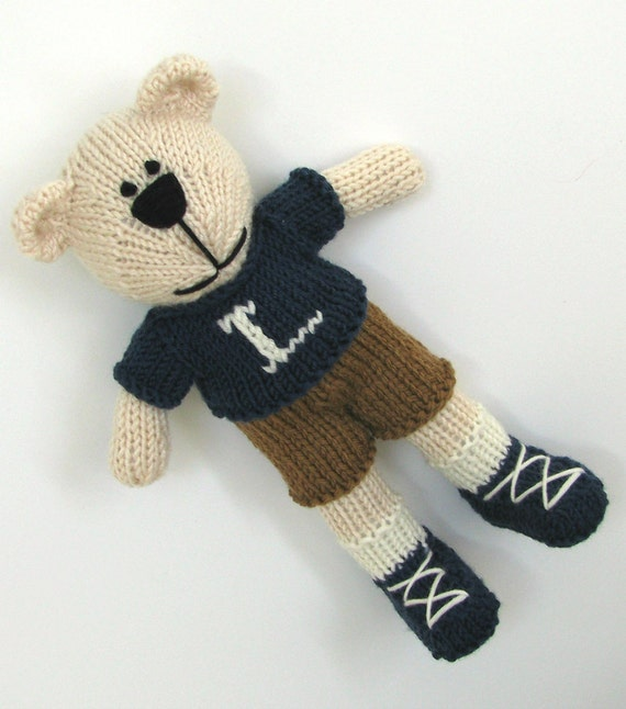 Hand Knitted Bear Toy - Children Toy -  Personalized Toy - Stuff Animal - Knit Toys - Custom Knit Bear - Small Toy - Plush Bear - Kids Toy