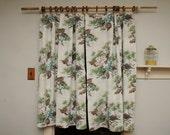 PAIR Barkcloth Curtain Panels Turquoise Pink Gray