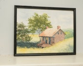 Original Painting Watercolor Cabin in the Woods Country Landscape Pennsylvania