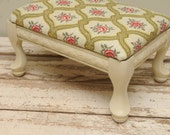 Roses Wooden Footstool Red Green