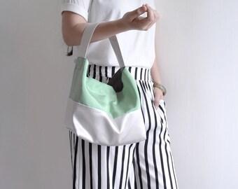 Classic top handle bag.  Dark sea green woman shopping bag