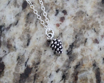 Tiny Acorn Charm necklace in Antique Silver