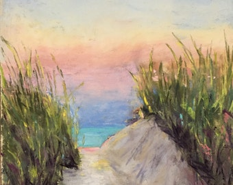 Beach Walk 9 x 12 Pastel Painting