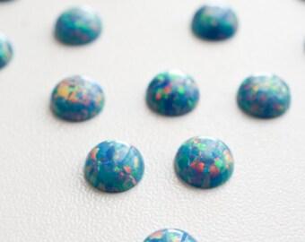 6mm pastel blue opal smooth cabochon. sparkling opal blue cab. round cabochon glitter opal light blue baby blue