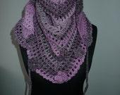 Ready to Shipp!!! Road Trip Scarf  Flowers RTS, Triangle scarf, Plum & Pink Shawl