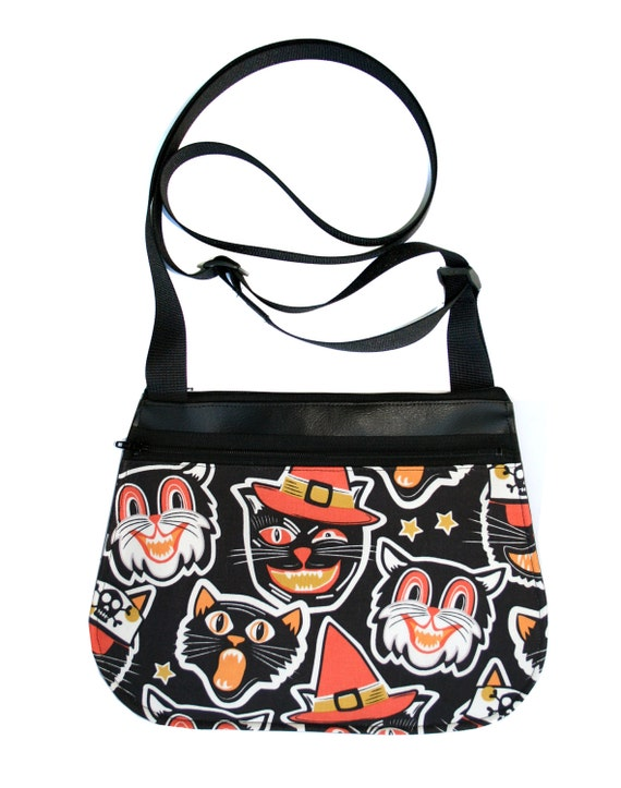 cats, halloween, black vinyl, cross body, vegan leather, zipper top