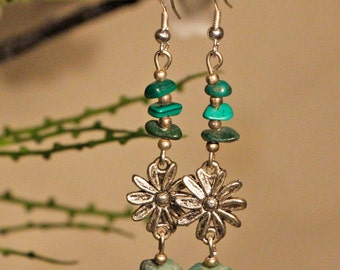 Green Gemstone Flower Earrings Free Worldwide Shipping