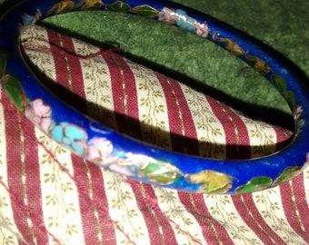 Cloisonne  Royal Blue Gold Pink Floral Enameled Bangle Bracelet