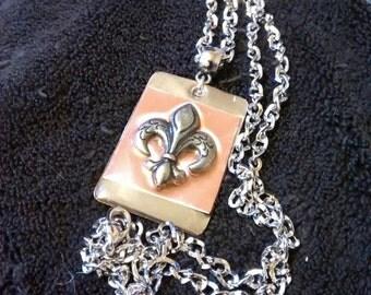 Victorian  Fleur De Lis Victorian Necklace Pendant On Chain...Victorian
