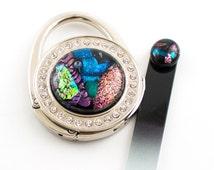 Multi Color Purse Hook, Rhinestone Design, Handbag Hanger, Dichroic Cabochon, Purse Accessories, Glass Nail File, Unique Gifts for Women