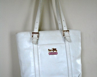 Vintage Coach Bag / White Leather Satchel Bucket Bag