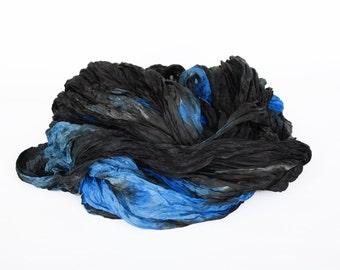 black silk scarf - July Storm - blue, black silk scarf.
