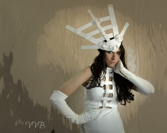 Structured White Avant garde mod futuristic unique headpiece headdress fascinator hat derby accessory fashion
