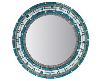 Teal and Gray Round Wall Mirror, Accent Mirror, Mosaic Mirror, Beach House Decor, Geometric Pattern