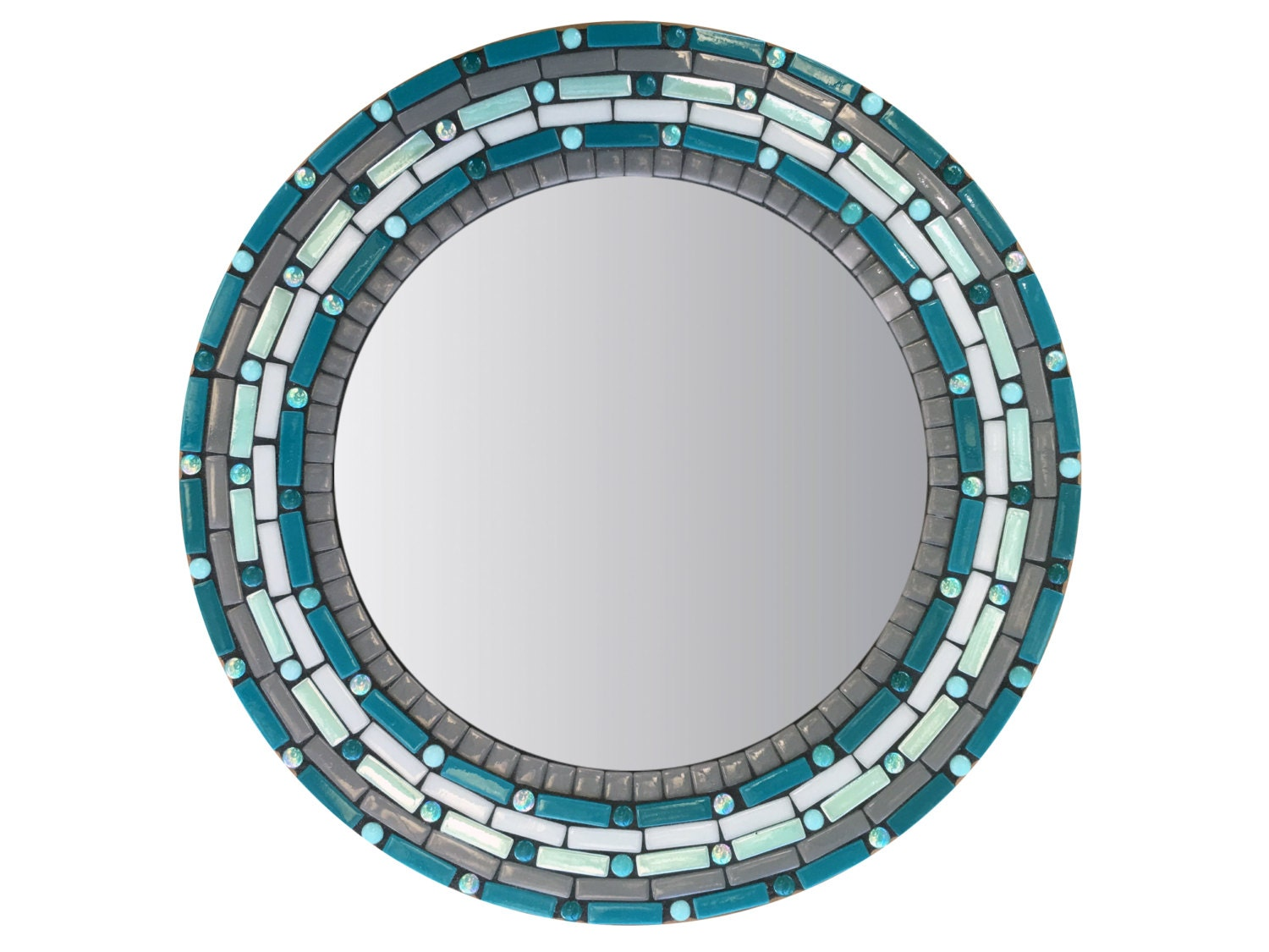 Teal and gray round wall mirror accent mirror mosaic mirror for Mosaic mirror