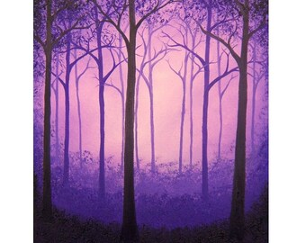 Purple Forest Print, Modern Purple Landscape, Woodland Art Print, Purple Woods, Whimsical Art Dreamscape, Fairytale Art, Wooded Landscape