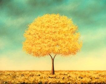 Original Art Oil Painting, Abstract Painting, Autumn Gold Yellow Tree Art, Textured Wall Decor, Horizon Canvas Art Blue Sky Landscape, 12x16