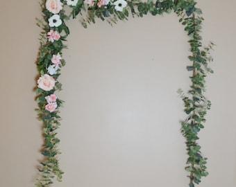 Eucalyptus Garland, Wedding Garland, Flower Backdrop, Eucalyptus, Anemone, Rose, Pink Wedding Decor, Pink Flower Garland, Silk Garland, Boho