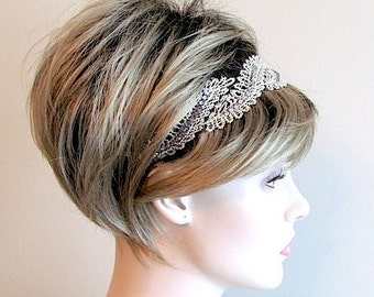 Rhinestones Lace Headband Stretchy Handmade Hair Accessory