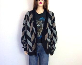 Vintage 80's Sweater BOYFRIEND Sweater Slouchy Sweater Cardigan Extra Large Zig Zag Geometric 90's Oversized Sweater Grandpa Sweater XL D