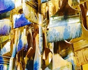 Artist Brushes Aluminum Art Print, Original Art Wall Decor, Metal Art Print Blue, Yellow Oil Color Pallet