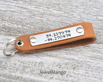 GPS Coordinates, Personalized Leather Keychain, Gifts for men, Groomsmen gift, Latitude Longitude, Custom Gifts, leather, made in USA