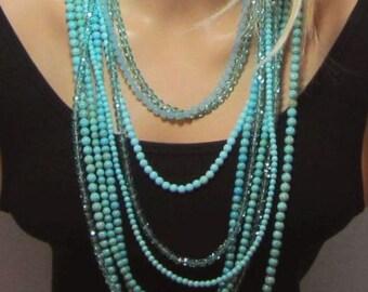 Turquoise Accent Necklace Beaded Light Aqua Fire Polish Czech Beads One Single Strand