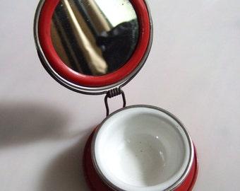 1940s Folding Travel Shaving Mirror with Tray