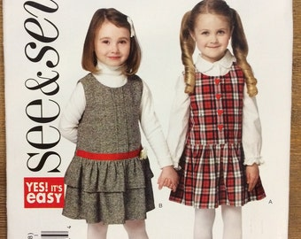 UNCUT Girl's Dress, Jumper Pattern Size 2-3-4-5-6-7-8 See & Sew B6230 Toddler, Baby, Two Tiered Dress