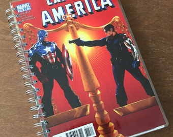 Captain America Upcycled Comic Book Journal