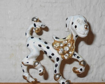 1950s Capri Dalmatian Brooch vintage signed CAPRI copyright symbol mid century vintage pin  Free USA Shipping