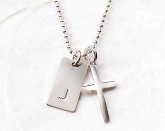 First Communion Necklace for Boy, Personalized, Gift for Boys, Religious Gift for Godson, Sterling Silver, Cross Charm, Confirmation Gift