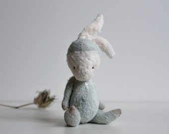 Made To Order Stuffed Animal Handmade Bunny White Plush Easter Rabbit Toy Blue Mohair Costume Gift For Her Free Shipping
