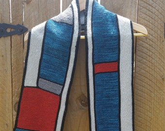 Hand knit Scarf, Red Blue Scarf, Color Block Scarf
