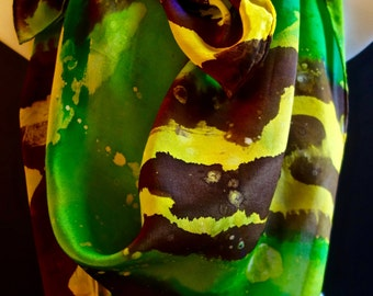 "Painterly green,yellow large Square SILK SCARF. Hand Painted Silk Scarf by New York  artist Joan Reese/ 42""x42"" /100% Silk"